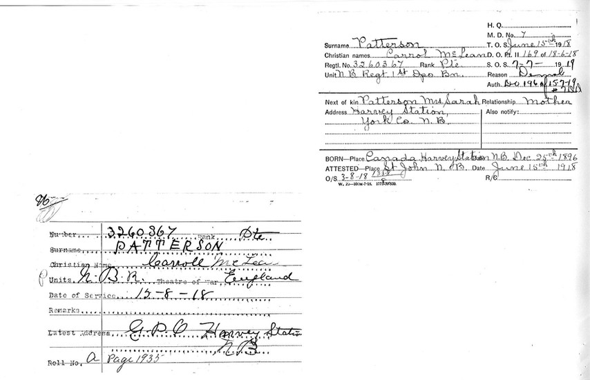 Miscellaneous next of kin contact cards completed on 15 June 1918 in NB and again in NB on 7 July 1919 when he was struck off strength and demobilized.