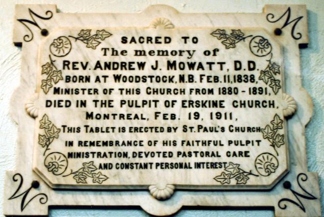 Rev. Mowatt Plaque