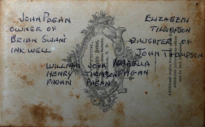 back image of Elizabeth Thompson and John Pagan Family Photo
