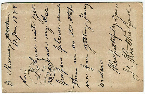 1878 Rutherford Post Card (Front)