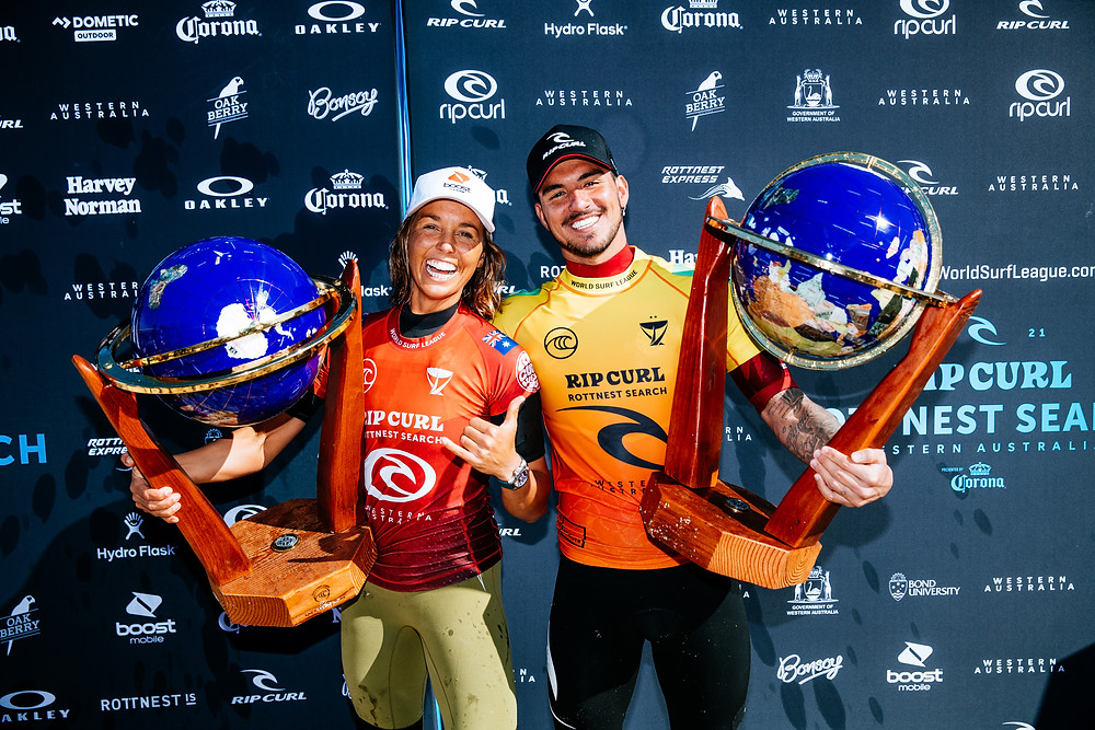Sally Fitzgibbons e Gabriel Medina campeões em Rottnest