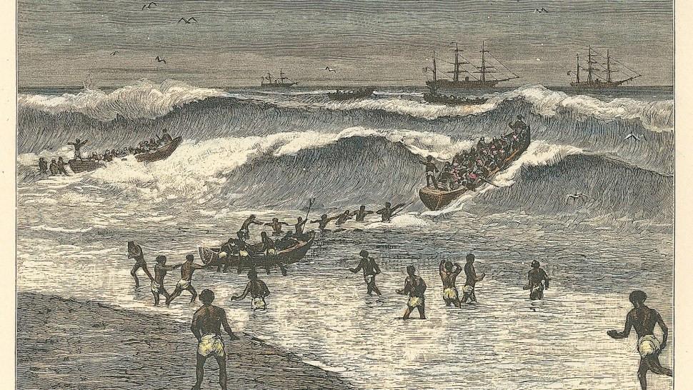 Pintura representando as canoas em ondas africanas