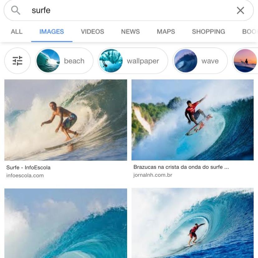 """Ao pesquisar """"surfe"""" no Google, nenhuma mulher nos resultados"""