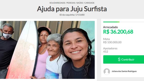 História da surfista Top10 do Brasil, Juliana dos Santos, viraliza e já arrecada R$40.000 em vakinha