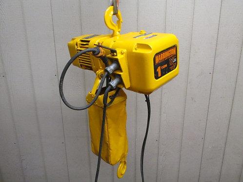 Harrington NER010L Electric Chain Hoist 1 Ton 2000 Lbs 12' Ft. Lift 16 FPM