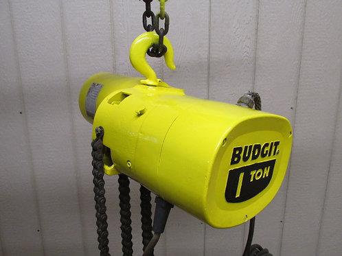 Budgit 309828-45 Electric Roller Chain Hoist 1 Ton 2000 Lbs 3 PH 16' Ft. Lift