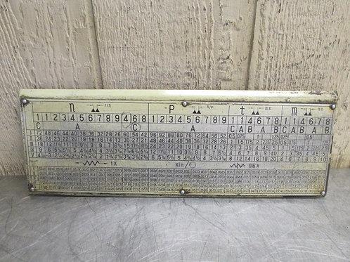 Kent KLS-1540 Lathe Threading Speed Gear Selector Chart Plate