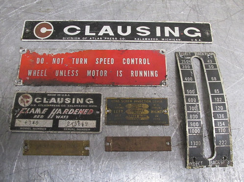 """Clausing 14"""" Lathe Model 6349 Name Tag Badge Plate Badges Plates"""