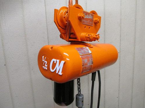 CM Loadstar Model F Electric Chain Hoist w/Trolley 1/2 Ton 500 Lbs 3 PH 10' Lift