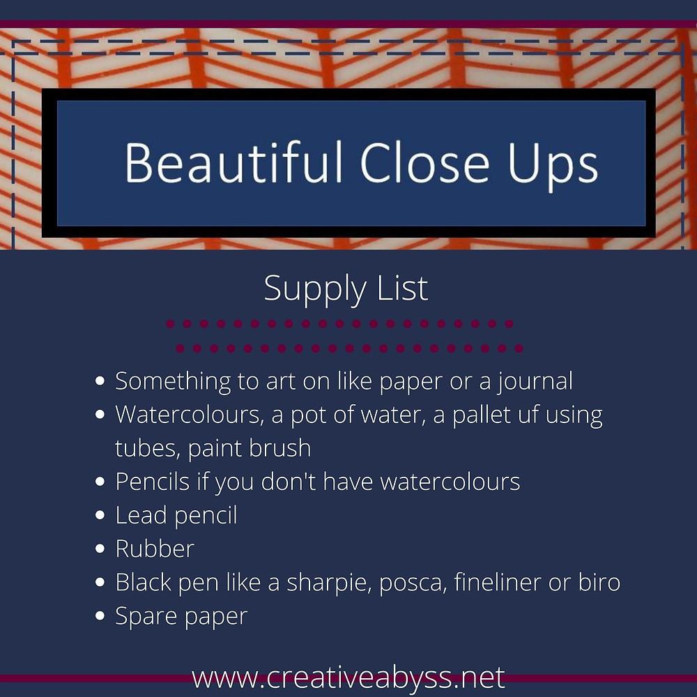 Art class supply list