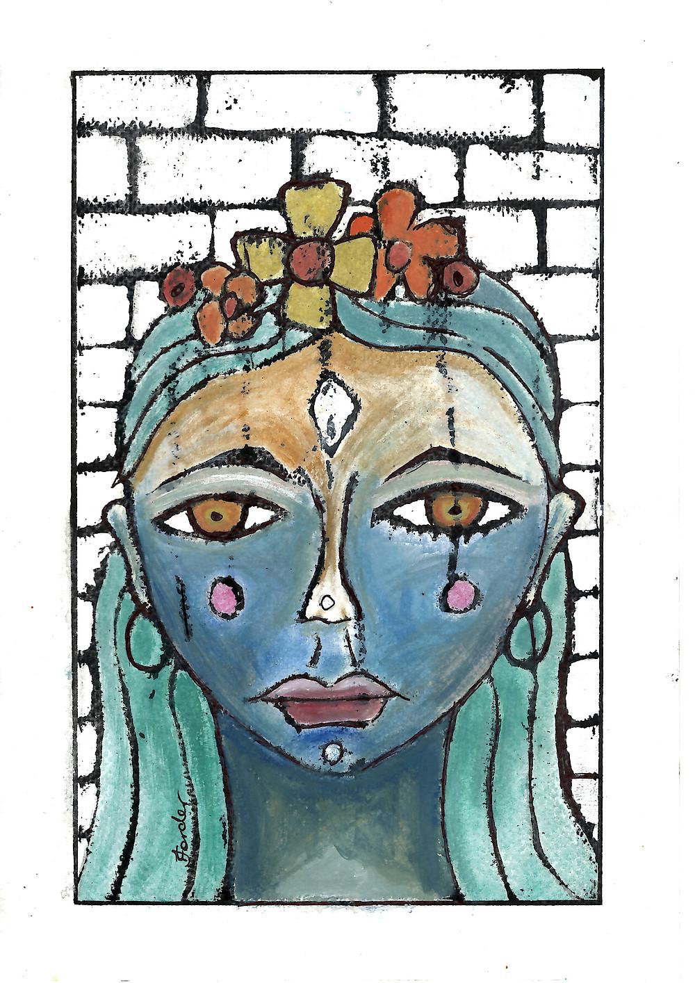 mosaic painted gypsy woman