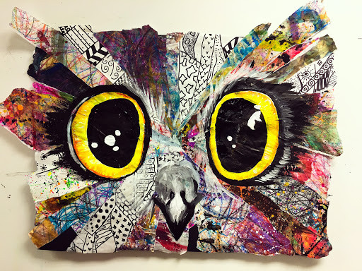 Picture of a mixed media owl face