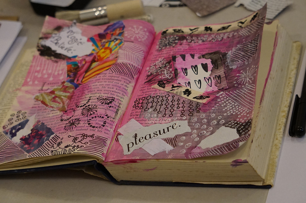 Pink art journal page