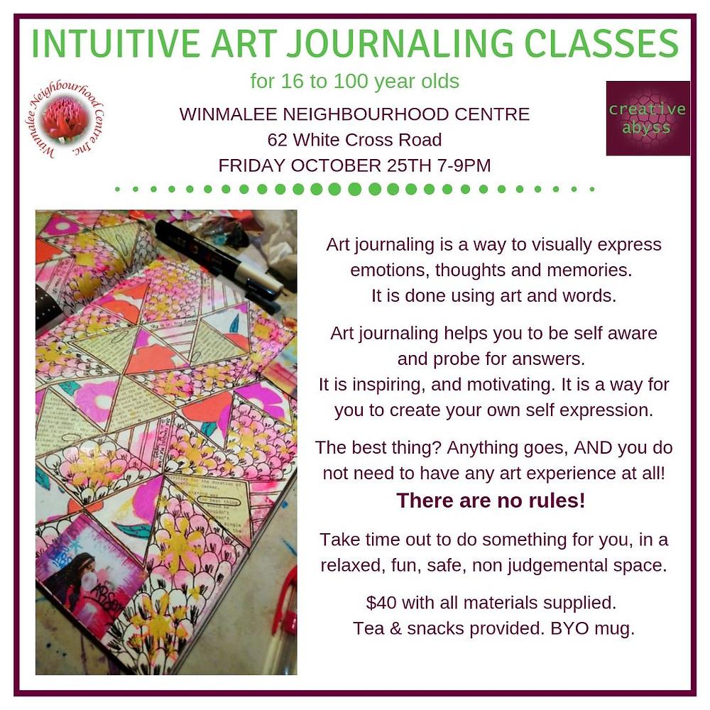 art journaling class ad