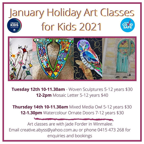 January Holiday Art Classes for Kids 202