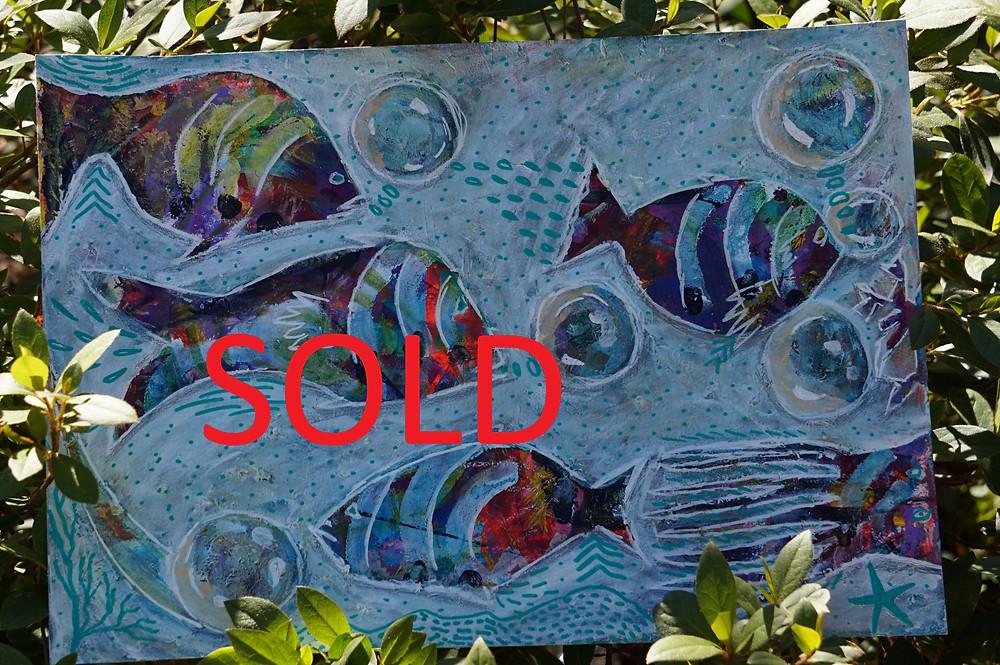 Fish painting, mixed media artwork, mixed media painting, abstract painting, abstract artwork, creative abyss, #creativeabyss