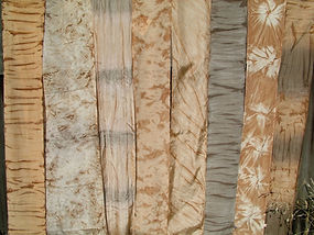 Strips of kakishibu dyed fabric