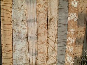 Strips of kakishibu dyed fabric