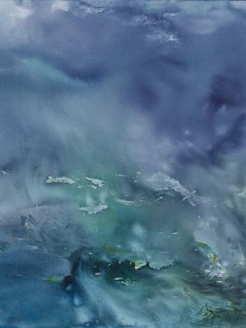 Voyage aquatique - Encre sur toile  160 x 100 cm