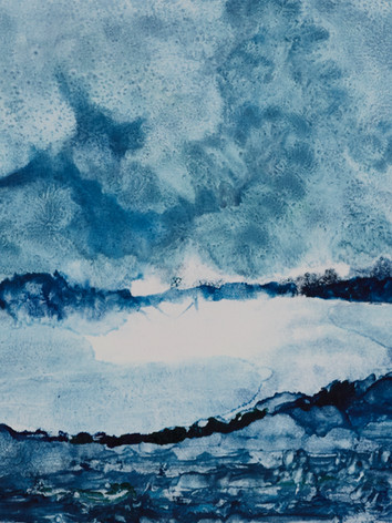Entre ciel et eau - Monotype sur papier Hahnemühle 300g 20 x 15 cm
