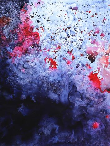 Volcanique- Encre sur toile 120 X 150 cm