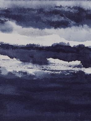 Côtes indigo - Encre sur papier  Hahnemühle 300g  20 x 20 cm
