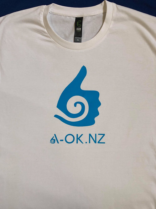 White T-shirt with blue A-OK.NZ print