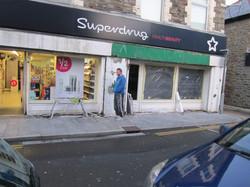 Shop front spraying