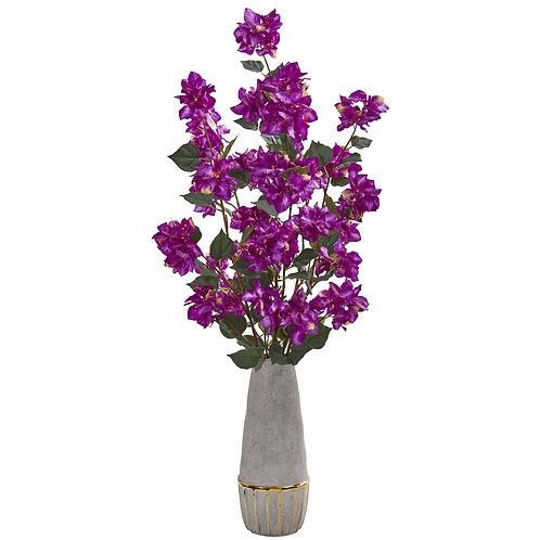 "39"" Bougainvillea Artificial Arrangement in Stoneware Vase"