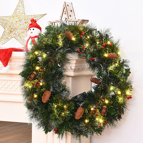 "24"" Pre-lit Artificial Spruce Christmas Wreath"