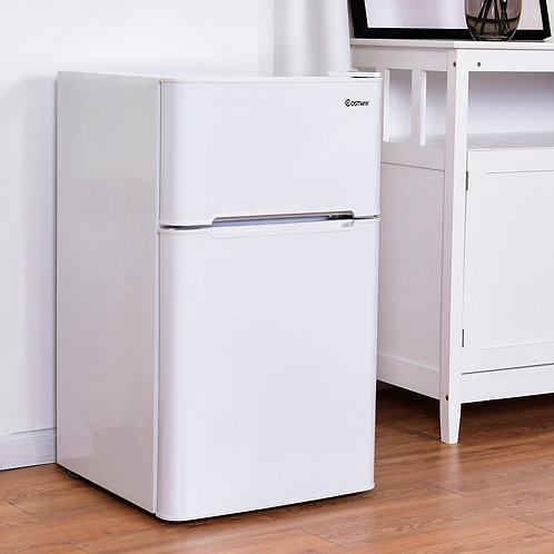 3.2 cu ft. Compact Stainless Steel Refrigerator-White