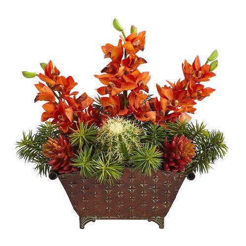 """21"""" Cymbidium Orchid, Cactus and Succulent Artificial Arrangement in Metal Vase"""