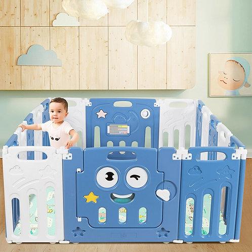 16-Panel Foldable Baby Playpen Kids Activity Centre-Blue