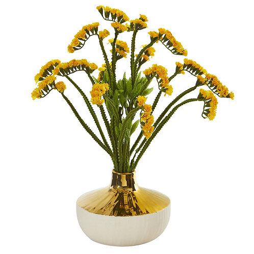 "17"" Baby Breath Artificial Arrangement in Gold and Cream Elegant Vase"