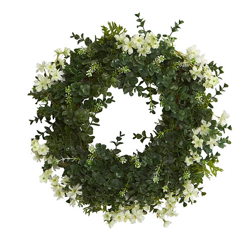 """18"""" Eucalyptus and Dancing Daisy Double Ring Artificial Wreath with Twig Base"""