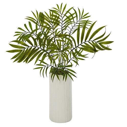 """18"""" Mini Areca Palm Artificial Plant in White Planter"""