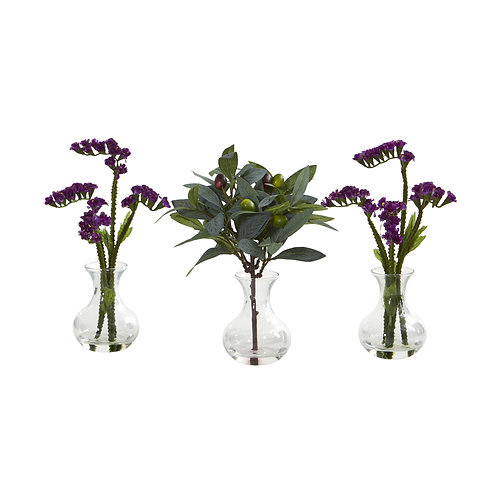 """10"""" Baby Breath and Olive Artificial Arrangement in Vase (Set of 3)"""
