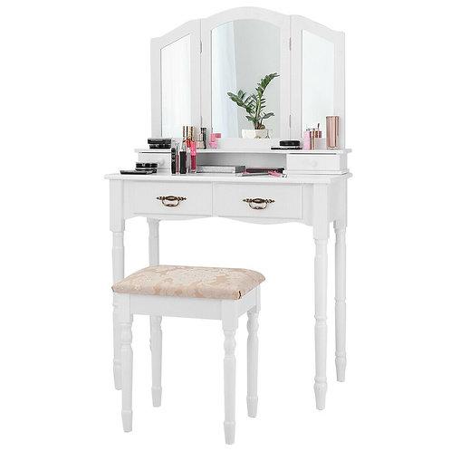 Black / White Vanity Makeup Dressing Table with Tri Folding Mirror-White
