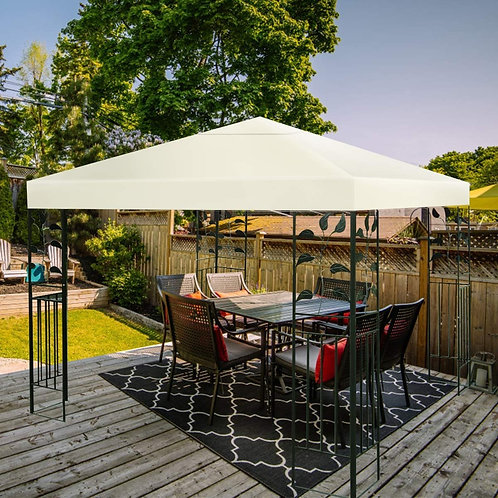 1-Tier or 2-Tier 3 Colors Patio Canopy Top Replacement Cover-1 Tier Beige