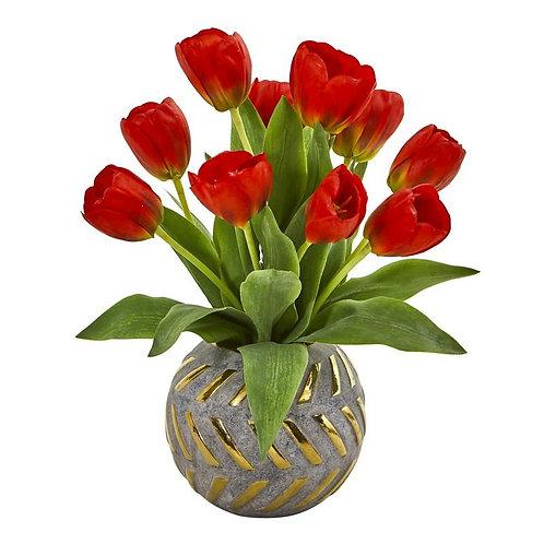 Tulip Artificial Arrangement in Decorative Vase