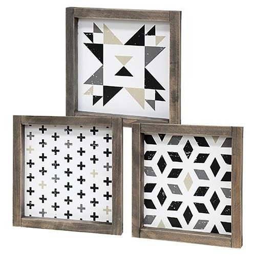 Black and White Geometric Box Sign 3 asstd.
