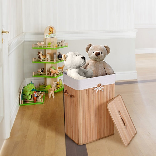 Bamboo Hamper Laundry Basket Washing Cloth Bin Storage Bag Lid 3 color-Natural