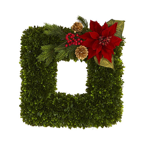 "16"" Tea Leaf and Poinsettia Artificial Square Wreath"