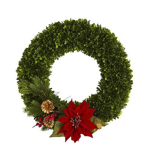 "18"" Tea Leaf, Poinsettia and Pine Artificial Wreath"