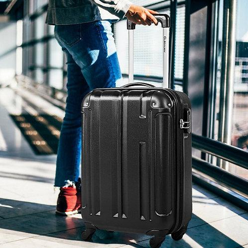 "18"" ABS Lightweight Hardshell Luggage Suitcase with 4-Wheel-Black"