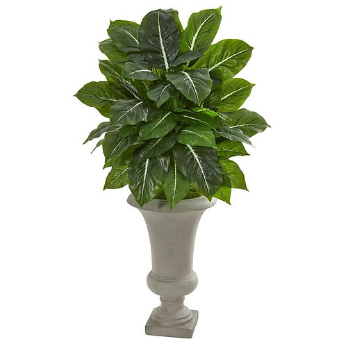35' Evergreen Artificial Plant in Sandstone Urn (Real Touch)