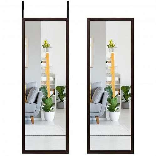 Full Length Metal Door Mirror with Adjustable Hook-Coffee