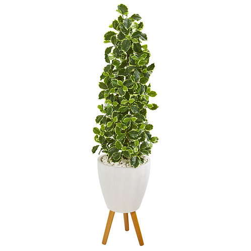 """51"""" Variegated Holly Leaf Artificial Tree in White Planter with Stand"""