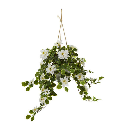 3.5' Poinsettia and Variegated Holly Artificial Plant in Hanging Metal Bucket