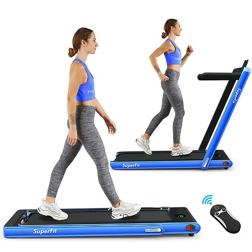 2 in 1 Folding Treadmill with Bluetooth Speaker Remote Control-Navy